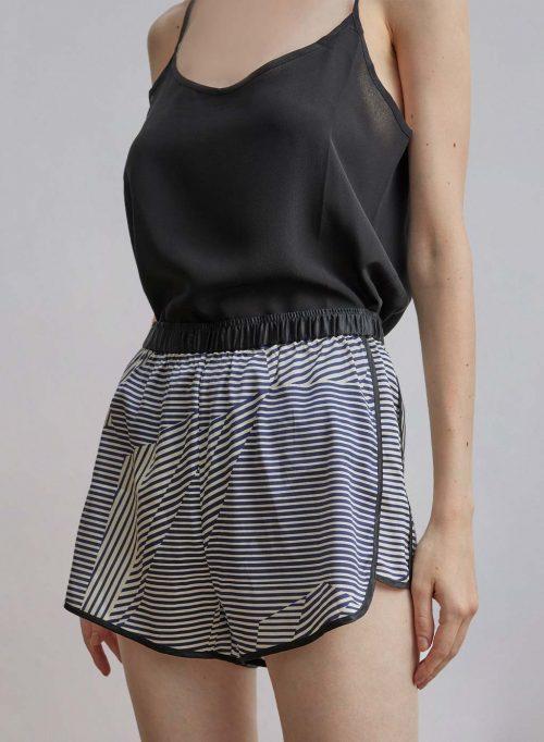 Black & White Stripe Pocket Silk Shorts is $58 (34% off)