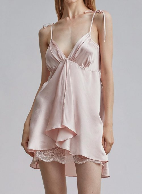 Front Slit Lace Hollow Silk Dress is $99 (23% off)