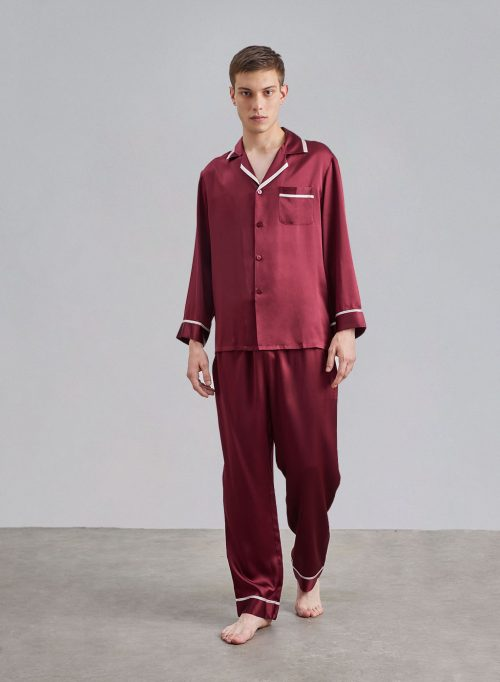 Men's Lapel Collar Slik Pajama Set is $127 (30% off)