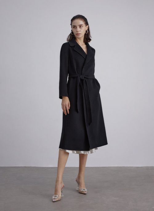 Belted Silk Wool Blend Coat is $319 (20% off)