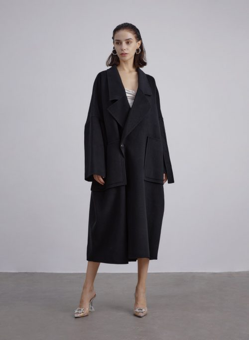 Patch Pockets Silk Wool Blend Maxi Coat is $319 (20% off)