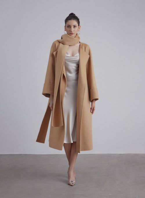 Ultimate Long Silk Wool Blend Scarf Coat is $127 (20% off)