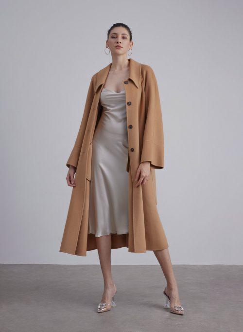 Button Up Collar Silk Wool Blend Coat is $127 (20% off)