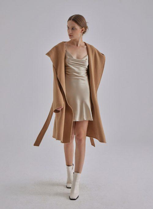 Hooded Wrap Silk Wool Blend Coat is $127 (20% off)